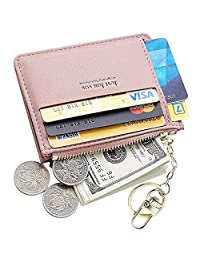 PSEEHEE Slim Minimalist Card Holder Wallet, Small Front Pocket Wallet Card Case with Keychain, Change Purse Women (Pink)