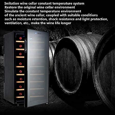 Nevera Para Vinos, Nevera Para Bebidas, Capacidad: 78 Litros, Espacio Para 32 Botellas, 8 Estantes, Silencioso, Temperatura 12-18° C, Iluminación Interior LED, Negro,Beech