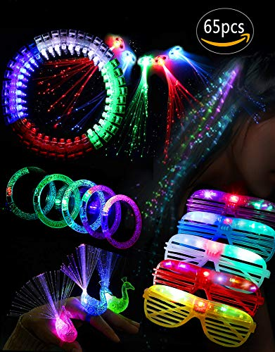 Glow In The Dark Party Supplies,Party Favors For Girl,65 Pcs LED Party Supplies,Include 40 Finger Lights,10 Colorful Peacock Finger Iamps,5 Bracelets,5 Flashing Lights Hair,5 Flashing Slotted Shades Glasses,Good for girl's -