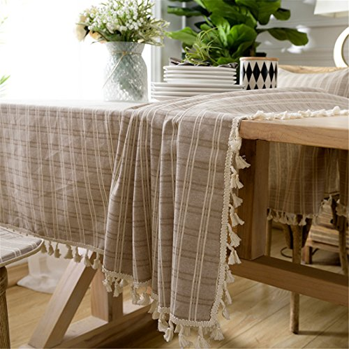 Ethomes Beige Cotton Linen Lace Checked Square Tbale Cover Plaid Tablecloth for Home Dining Wedding Kitchen Picnic 43x43 inch (110x110cm) - Beige Square Tablecloth
