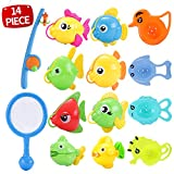 Bath Toy,14PCS Fishing Floating Squirts Toy,Fish Net Playset,Fishing Rod and Water Spoon in Bathtub Bathroom Pool Bath Time,Bathroom Play Floating Fishing Game for Kids Toddlers Bathtub Fun Time