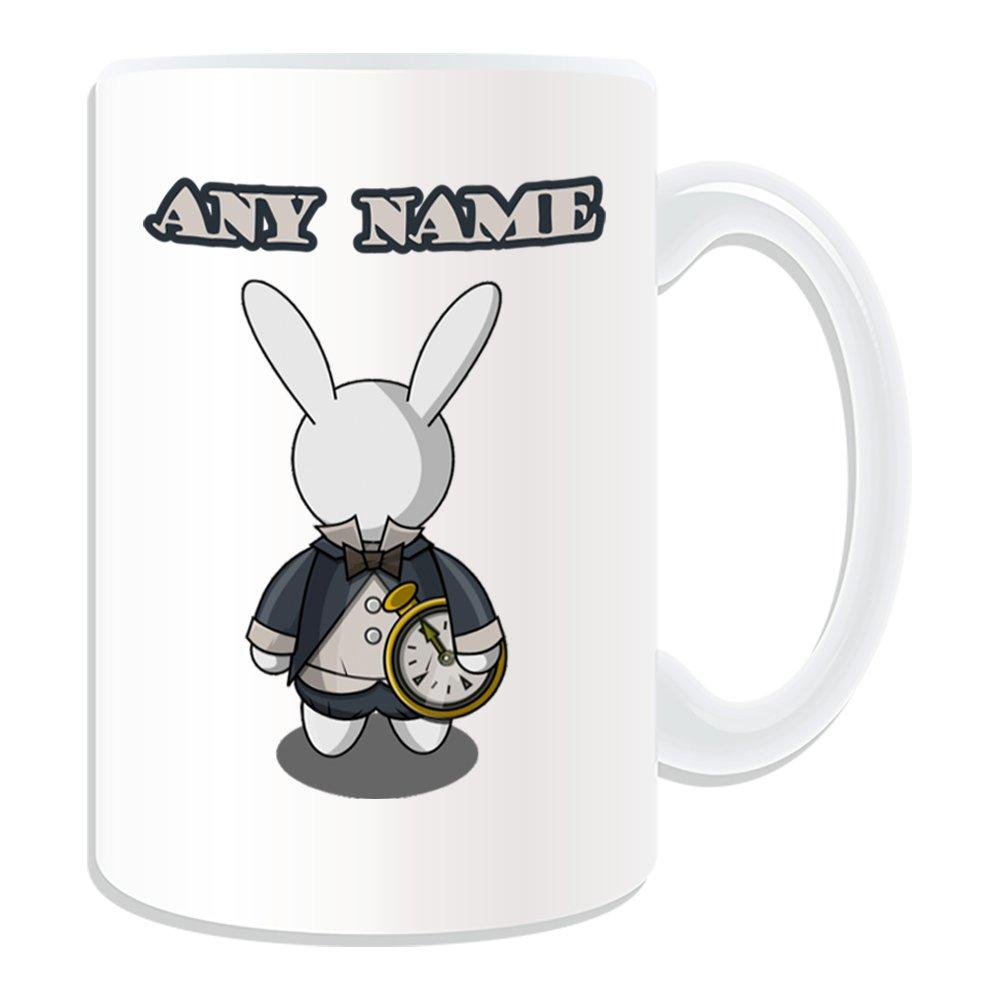 De regalo con mensaje personalizado - Coopers fine furnishings de conejo taza (molde para hacer una diseño de, blanco) - nombre personalizable para/de ...