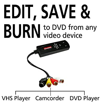 Diamond Vc500 Usb 2.0 One Touch Vhs To Dvd Video Capture Device With Easy To Use Software, Convert, Edit & Save To Digital Files For Win7, Win8 & Win10 8