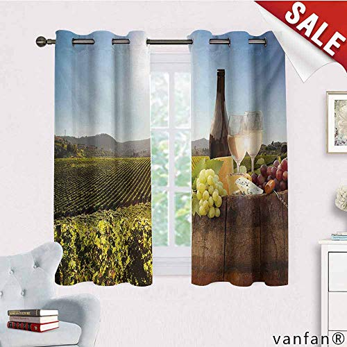 Big datastore Unique Customize Home Decorator Window Curtain,Wine,White Wine with Barrel On Famous Vineyard in Chianti Tuscany Agriculture,Blackout 100% Polyestergreen Brown Pale Blue,W55 Xl39
