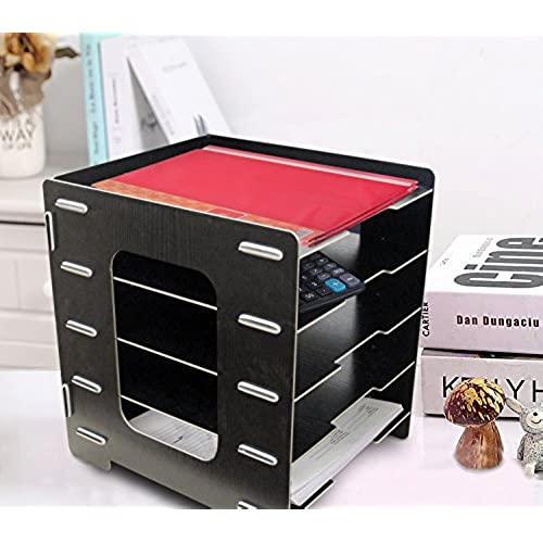 best Black Foldable Wooden 5 Tier Paperstand, File Organizer. Heavy Duty, Sturdy Design! By Mega Stationers
