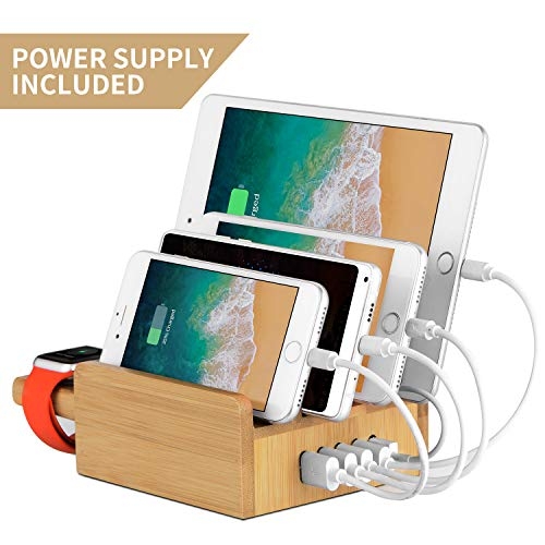 Upow 5-Port USB Charging Station Dock Apple Watch Stand Bamboo Multi Device Organizer Fast Charging Smart Phones, Tablets - iPhone, iPad, Samsung Galaxy Others (Best Iphone 5 Charging Dock)