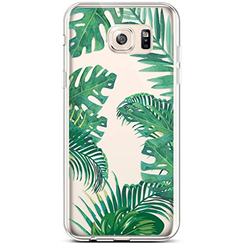 PHEZEN for Samsung Galaxy S6 Edge Case,Clear Soft Flexible TPU Silicone Case Rubber Skin with Art Painted Design Transparent Shockproof TPU Bumper Protective Case for Galaxy S6 Edge, Green leaf