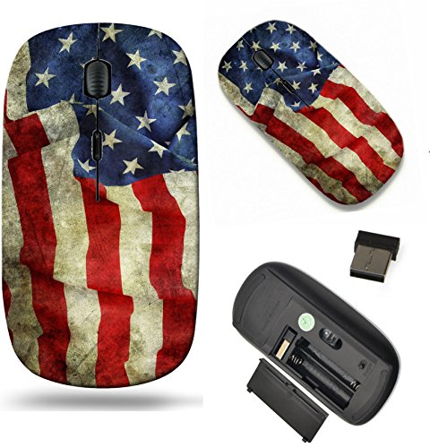 MSD Wireless Mouse Travel 2.4G Wireless Mice with USB Receiver, Noiseless and Silent Click with 1000 DPI for Notebook, pc, Laptop, Computer, mac Book Design 25232337 Closeup of Grunge American Flag