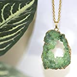 Green Geode Slice Necklace, Druzy Sparkly Drusy Stone Long Unique Layering Trendy Necklace - Handmade gift for girlfriend