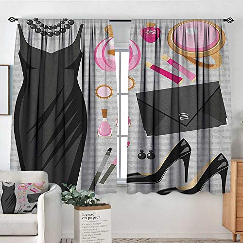 Decor Waterproof Window Curtain Heels and Dresses,Black Smart Cocktail Dress Perfume Make Up Clutch Bag, Black Pale Pink Pale Brown,Darkening and Thermal Insulating Draperies 52