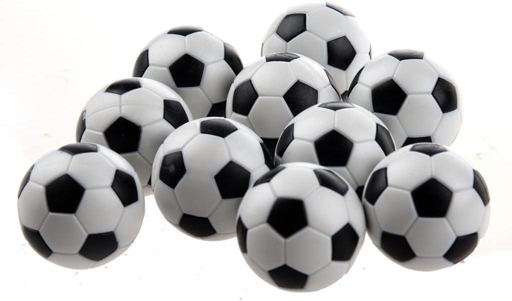 NiceButy 6 pcs Table Soccer Foosballs Remplacement Mini Plastique Noir et Blanc Ballon de Foot
