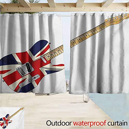 Lcxzjgk Union Jack Window Blind Classical Electric Guitar UK Flag Great Britain Music Instrument Waterproof Patio Door Panel W63 xL72 Pale Brown Silver Black (Best Blackout Blinds Uk)