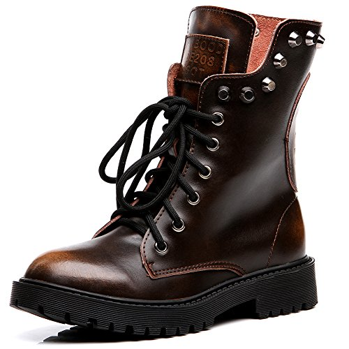 Shenn Women's Round Toe Knee High Punk Military Combat Boots Brown