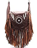Brown Redindians Genuine Leather Boho Fringe Cross Body Hip Fanny Bag Pouch