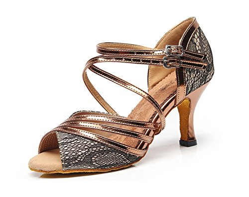Minitoo Ladies Fashion Strappy Synthetic High Heel Latin Dance Shoes Wedding Sandals Bronze-7.5 Cm Heel