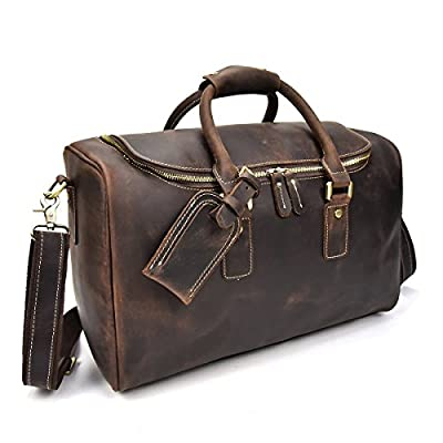5728eb0fd0e2 Men's Genuine Leather Travel Duffle Large Round Zipper Cow Leather ...
