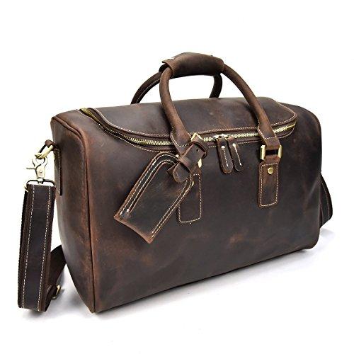 Men's Genuine Leather Travel Duffle Large Round Zipper Cow Leather Weekend Bag Overnight Messenger 42cm (Darkbrown) (Darkbrown) by Luufan