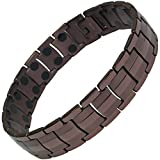 IonTopia Hermes Titanium Magnetic Therapy Bracelet Coffee Tone XL with Free Links Removal Tool