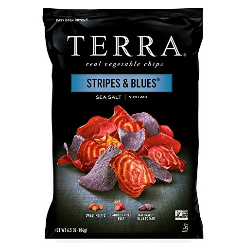 Potato Chips Blue (TERRA Stripes & Blues Chips with Sea Salt, 6.5 oz. (Pack of 12))