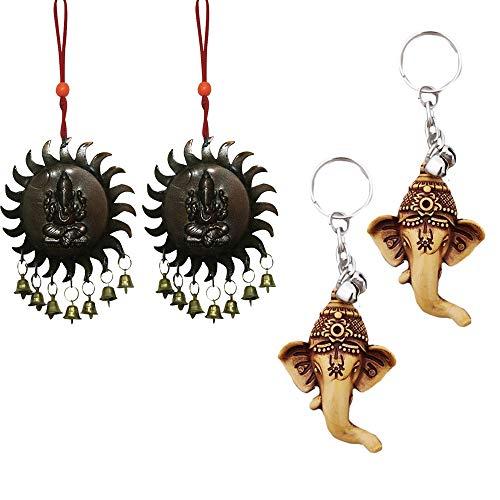 Divya Mantra Sri Hindu God Ganesha Rear View Mirror Decor Ornament Accessories/Good Luck Charm Protection Interior Wall/Door Vastu Surya Hanging Showpiece & Set of 2 Keychains for Bike/Car/Home ()