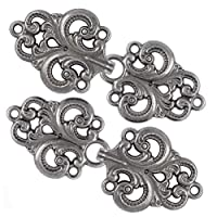 Bezelry Swirl Flower Hook and Eye Cloak Clasp Fasteners Pack of 4 Pairs 65mm x 28mm Fastened.