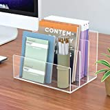 NIUBEE Acrylic File Holder, 3 Sections Clear Office