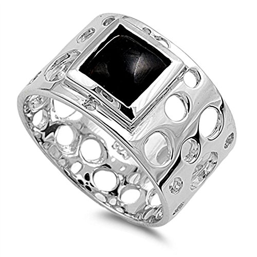Cutout Circle Square Solitaire Ring Sterling Silver Band Size 7 (Black Onyx Circle Ring)
