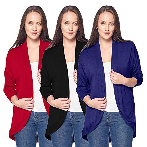 3 Pack of Women's 3/4 Sleeve Cardigans - Elegant Curved Hem Cocoon Cardigan (2X-Large, Black, Burgundy & Navy)