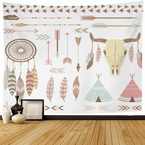 AlliuCoo Tapestry Wall Hanging 60 x 50 Inches American Tribal Indian Native Drawing Dream Catcher Headdress Navajo Date Home Wall Decor Tapestries for Bedroom Living Room ()
