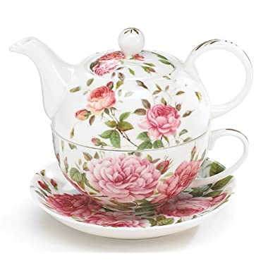 Porcelain Rose Teapot and Teacup For One
