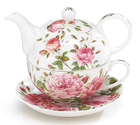 Amazon Com Porcelain Rose Teapot And Teacup For One Tea Services