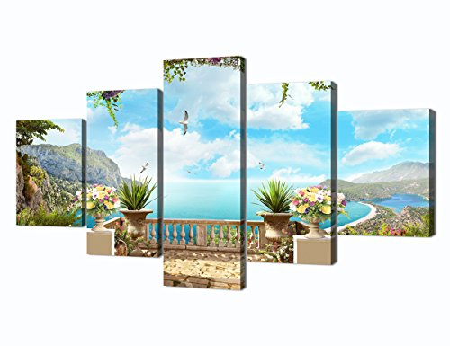 Garden Pictures for Living Room Ocean Painting 5 Piece Modern Wall Art Canvas Print Home Decoration Bedroom Wall Art for Living Room Decor Posters and Print Framed Ready to Hang(60''W x 32''H) from Yatsen Bridge