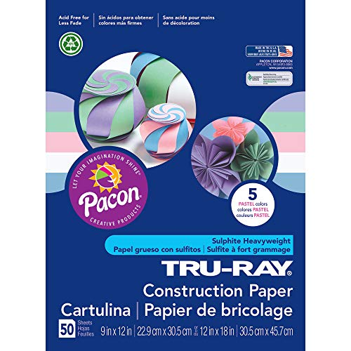 Pacon Tru-Ray Assorted Pastel Colors Pastel Construction Paper, 9