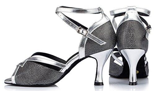 Peep Heel Mid Honeystore Shoes Latin Black Dance Toe Women's 5Pw7CInOq