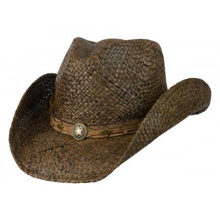 Country Western Raffia Shapeable Hat,Dark Brown,Small/Medium ()