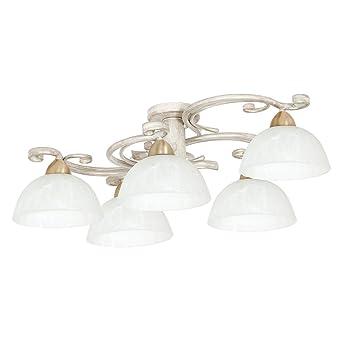 Deckenlampe Landhaus Weiss Shabby Chic Stil 5x E27 Bis 60w