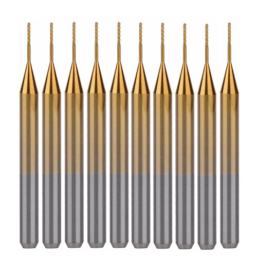 HOZLY Titanium Coat Carbide 3.175mmX0.5mmX3mm End Mill Engraving Bits CNC Rotary Burrs Pack Of 10