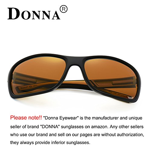 f6557ef7800 DONNA Unisex Cool Polarized Sports Sunglasses with Oversized Wrap Around  Frame for Fishing Golf Hiking D53(Brown). 56 Millimeters-Black Lens Gray  Arms
