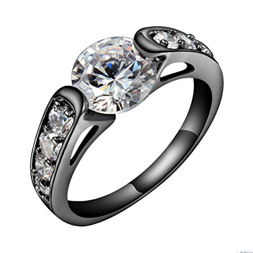 HIJONES Women's Gun Black Plated Half Round White Cubic Zirconia Eternity Wedding Rings Size - Stores Round Rock Outlet