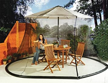 umbrella mosquito net canopy patio set screen house black - Outdoor Canopies