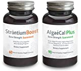 Calcium and Strontium Citrate Supplement - AlgaeCal Plus & Strontium Boost Combo - All Organic Ingredients - Only Bone Building Formula Guaranteed to Increase Bone Density (14 Bottle, 6 Month Supply)