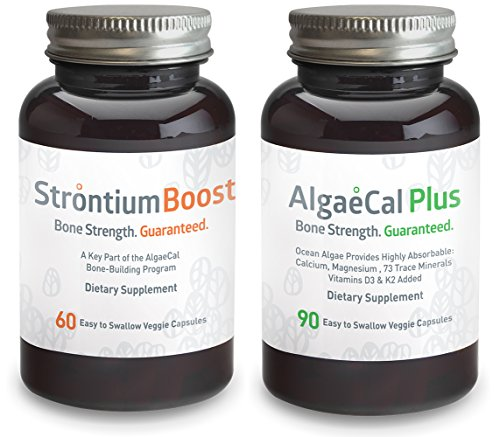 Calcium and Strontium Citrate Supplement - AlgaeCal Plus & Strontium Boost Combo - All Organic Ingredients - Only Bone Building Formula Guaranteed to Increase Bone Density (14 Bottle, 6 Month Supply) by AlgaeCal