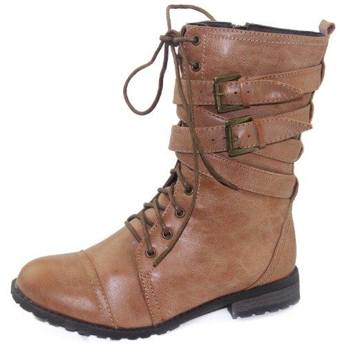 Women's Lace Up Combat Military Combat Cowboy Rider Boots Fashion Shoes - stylishcombatboots.com