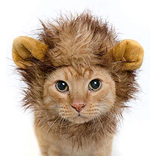 Lion Mane Wig for Cats and Small Dogs, Funny Pet Cat Dog Costumes for Halloween Christmas Festival Fancy Dress up, Furry Pet Clothing Accessories]()