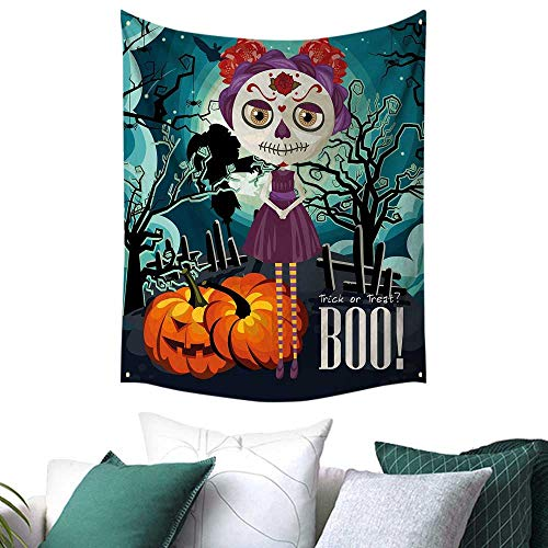 Anshesix Halloween Wall Tapestry Hanging Cartoon Girl with Sugar Skull Makeup Retro Seasonal Artwork Swirled Trees Boo Home Decor Couch Cover 40W x 60L INCH -
