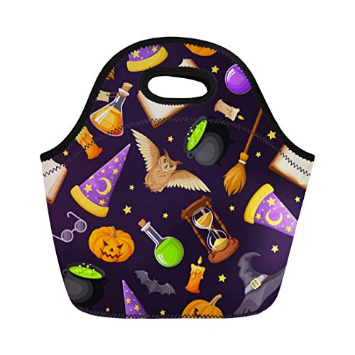 Semtomn Lunch Tote Bag Magical Symbols Books Cauldrons Hourglass Owls Jack O Lanterns Reusable Neoprene Insulated Thermal Outdoor Picnic Lunchbox for Men Women
