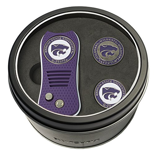 (Team Golf NCAA Kansas State Wildcats Gift Set Switchblade Divot Tool with 3 Double-Sided Magnetic Ball Markers, Patented Single Prong Design, Causes Less Damage to Greens, Switchblade Mechanism)