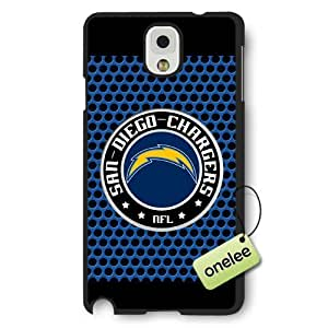 Personalize NFL San Diego Chargers Team Logo Frosted Black Samsung Galaxy Note 3 Case Cover - Black