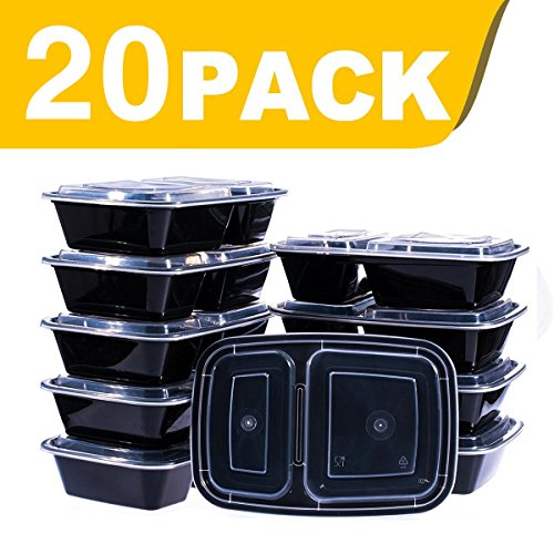 Glotoch 32oz Food Storage Containers Set with Lid for Meal Prep and Portion Control in 2 Compartment Bento Box-Microwaveable, Freezer & Dishwasher Safe (20)