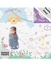 Double Sided Monthly Baby Milestone Blanket- Month Blanket for Baby Pictures | Photo Blanket with Baby Photo Props | Monthly Blankets for Newborns | Boy and Girl Milestone Blanket